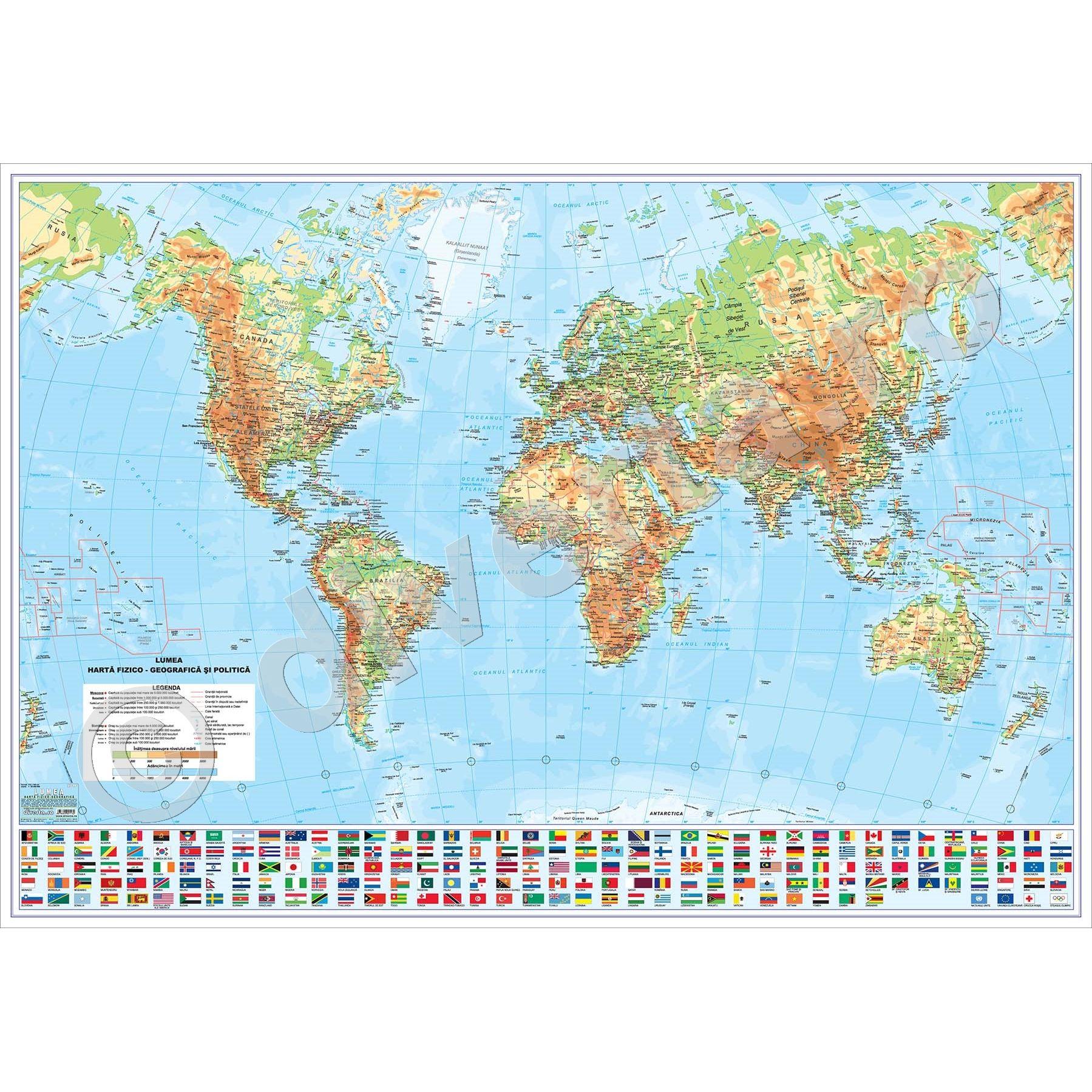 Lumea Harta De Perete Fizica Geografica Si Politica 175x250cm