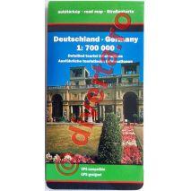 GERMANIA, harta pliata rutiera, administrativa si turistica, scara 1:700000, format 94x129 cm