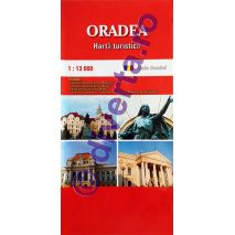 ORADEA, harta pliata turistica si rutiera, scara 1:13000, format 50x70 cm