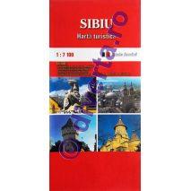 SIBIU, harta pliata turistica si rutiera, scara 1:7100, format 50x70 cm