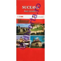 SUCEAVA, harta pliata turistica si rutiera, scara 1:9000, format 50x70 cm