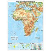 AFRICA, harta de perete fizica-geografica si politica, format 115 x 160 cm, editie 2019, laminata - plastifiata (incapsulata), baghete;  harta scolara; harta didactica