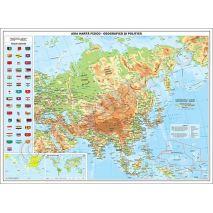 ASIA, harta de perete fizica-geografica si politica, format 70 x 100 cm, editie 2019, laminata - plastifiata (incapsulata), baghete; harta scolara; harta didactica.