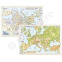 EUROPA DUO 50x70 cm, harta de perete fizica-geografica (fata) + politica (verso), format 50x70cm, laminata - plastifiata (incapsulata), baghete; fata: EUROPA, harta de perete fizica-geografica, scara 1:7000000, format 50 x 70 cm, laminata - plastifiata (incapsulata), baghete; in conformitate cu programa scolara actuala!;     harta scolara; harta didactica;verso: EUROPA, harta de perete politica, scara 1:7000000, format 50 x 70 cm, laminata - plastifiata (incapsulata), baghete; granitele statelor delimitate vizibil; harta scolara;harta didactica;