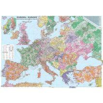 EUROPA, harta de perete politica si rutiera cu coduri postale, format 210 x 300 cm, laminata - plastifiata (incapsulata), baghete, detaliata