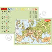 EUROPA FIZICA-GEOGRAFICA SI POLITICA, harta de perete (fata) + TABLA INMULTIRII / IMPARTIRII / ZODIAC plansa de perete / mapa de birou (verso), format 40x60cm, editie 2020, laminata - plastifiata (incapsulata), baghete - PLANSA DUO 40x60 cm; in conformitate cu noua programa scolara actuala!; minharta: MARILE UNITATI DE RELIEF; minharta: BAZINUL DUNARII; harta scolara; harta didactica; legenda in limbile romana si engleza; se poate folosi si ca harta / plansa / mapa pe birou.