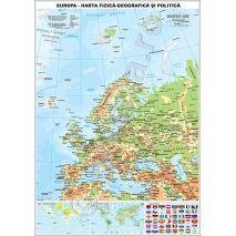EUROPA, harta de perete fizica-geografica si politica, format 90 x 120 cm, laminata - plastifiata (incapsulata), baghete; + miniharta Europa - Pozitionare geografica; + miniharta Tipuri de vegetatie pe glob; + plansa drapele nationale; harta scolara; harta didactica.