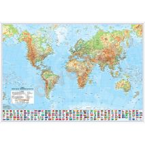 LUMEA, harta de perete fizica-geografica, scara 1:20000000, format 115 x 160 cm, editie 2016, laminata - plastifiata (incapsulata), baghete; harta scolara; harta didactica; foarte utila si pentru agentiile de turism, primarii, consilii judetene, firme de distributie produse, marketing, constructii, logistica, transporturi, shipping, etc.