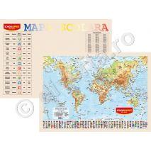 LUMEA FIZICA-GEOGRAFICA SI POLITICA, harta de perete (fata) + TABLA INMULTIRII / IMPARTIRII / ZODIAC plansa de perete / mapa de birou (verso), format 40x60cm, laminata - plastifiata (incapsulata), baghete - PLANSA DUO 40x60 cm; in conformitate cu noua programa scolara actuala!; minharta: MARILE UNITATI DE RELIEF; minharta: BAZINUL DUNARII; harta scolara; harta didactica; legenda in limbile romana si engleza; se poate folosi si ca harta / plansa / mapa pe birou.