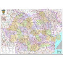 ROMANIA, harta de perete administrativa, rutiera si turistica (vecini + Republica Moldova completa), scara 1:400000, format 140 x 200 cm, laminata - plastifiata (incapsulata), baghete