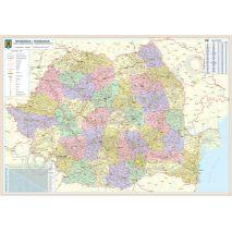 ROMANIA, harta de perete administrativa si rutiera, format 70 x 100 cm, laminata - plastifiata (incapsulata), baghete
