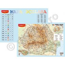 ROMANIA FIZICA-GEOGRAFICA, harta de perete (fata) + TABLA INMULTIRII / IMPARTIRII / ZODIAC plansa de perete / mapa de birou (verso), format 40x60cm, editie 2019, laminata - plastifiata (incapsulata), baghete - PLANSA DUO 40x60 cm; in conformitate cu noua programa scolara actuala!; minharta: MARILE UNITATI DE RELIEF; minharta: BAZINUL DUNARII; harta scolara; harta didactica; legenda in limbile romana si engleza; se poate folosi si ca harta / plansa / mapa pe birou.