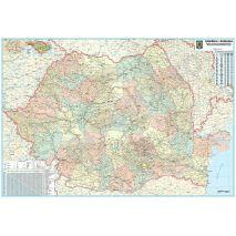 ROMANIA + REPUBLICA MOLDOVA, harta de perete administrativa si rutiera, (vecini + Republica Moldova), format 140 x 200 cm, editie actualizata 2018, laminata - plastifiata (incapsulata), baghete; contine delimitarea judetelor pentru Romania; contine localitatile din Romania si Republica Moldova; utilizare ca harta scolara si harta didactica; foarte utila si pentru agentiile de turism, primarii, consilii judetene, firme de distributie produse, marketing, constructii, logistica, transporturi, shipping, etc.