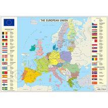HARTA UNIUNII EUROPENE (UE / EU), harta de perete politica, format 70 x 100 cm, editie 2018, laminata - plastifiata (incapsulata), baghete; harta politica a UNIUNII EUROPENE; harta scolara; harta didactica; date privind istoria aderarii statelor membre: 1957, 1973, 1981, 1986, 1995, 2004, 2007 (Romania Bulgaria), 2013; state candidate (Macedonia de Nord, Islanda, Muntenegru, Serbia, Turcia); foarte utila pentru institutii, primarii, consilii judetene, agentiile de turism, firme de distributie produse, marketing, constructii, logistica, transporturi, shipping, etc.