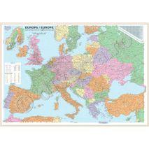 HARTA EUROPEI MAGNETICA INRAMATA 100x140cm, rama aluminiu cu suport magnetic si agatatori, politica, rutiera,  scara 1:3.500.000