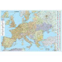 HARTA EUROPEI INRAMATA, rama aluminiu cu suport foamboard / pluta si agatatori, politica, rutiera, scara 1:2950000, format 100 x 140 cm, plastifiata (laminata) fata-verso (incapsulata)