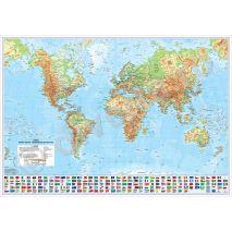 LUMEA, harta de perete fizica-geografica si politica, scara 1:15400000, format 140 x 200 cm, editie 2020, laminata - plastifiata (incapsulata), baghete; harta scolara; harta didactica; harta detaliata; foarte utila si pentru agentiile de turism, primarii, consilii judetene, firme de distributie produse, marketing, constructii, logistica, transporturi, shipping, etc.