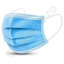 Masca faciala de protectie, 3 pliuri, 3 straturi, 2 elastice si banda metalica de fixare, albastra, unica folosinta, 50 buc / set - 1