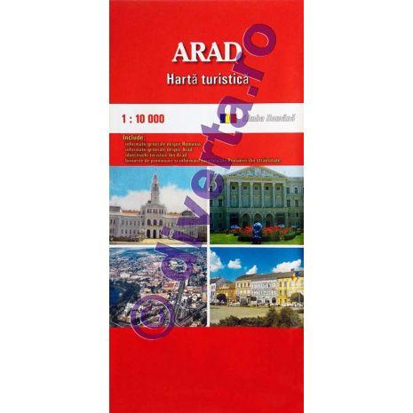 ARAD, harta pliata turistica si rutiera, scara 1:10000, format 50x70 cm
