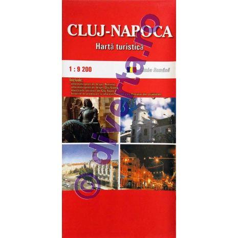 DIVERTA CLUJ-NAPOCA, harta pliata turistica si rutiera, scara 1:9200, format 50x70 cm, editie 2013