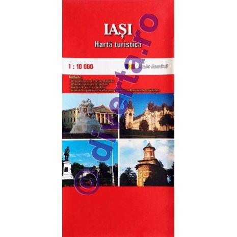 IASI, harta pliata turistica si rutiera, scara 1:10000, format 50x70 cm