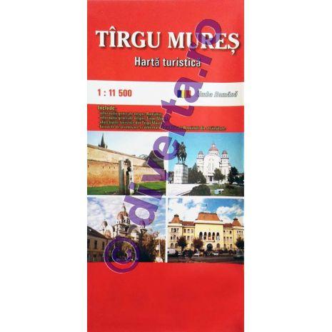 TARGU MURES, harta pliata turistica si rutiera, scara 1:11500, format 50x70 cm, editie 2013
