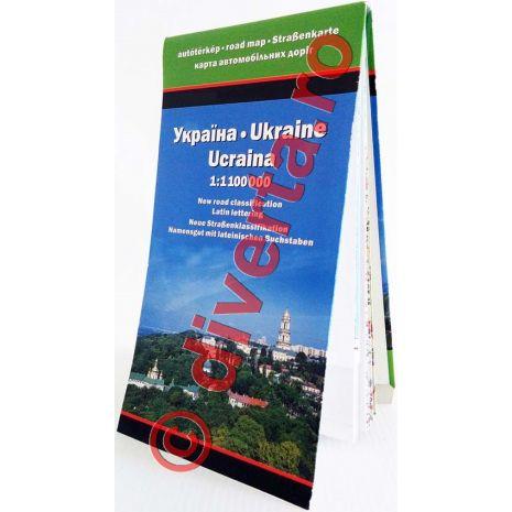 UCRAINA, harta pliata rutiera, administrativa si turistica, scara 1:1100000, format 87x124 cm, editie 2013