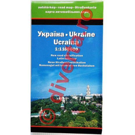UCRAINA, harta pliata rutiera, administrativa si turistica, scara 1:1100000, format 87x124 cm