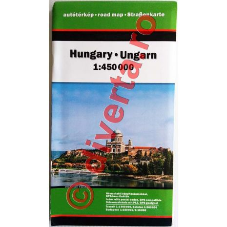 UNGARIA, harta pliata rutiera, administrativa si turistica, scara 1:450000, format 86x120 cm