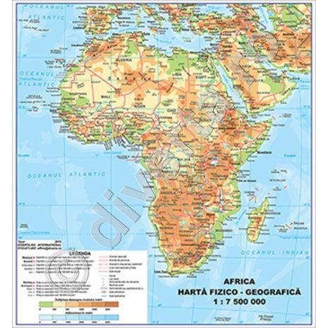 AFRICA, harta de perete fizico-geografica si politica, format 70 x 70 cm, laminata - plastifiata (incapsulata), baghete, harta scolara, harta didactica