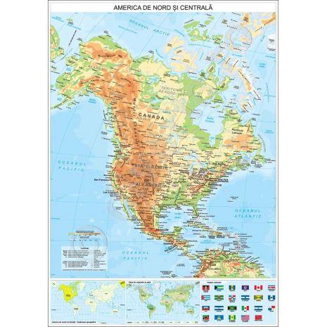 AMERICA DE NORD SI CENTRALA, harta de perete fizica-geografica si politica, format 100 x 140 cm, editie actualizata 2017, laminata - plastifiata (incapsulata), baghete, harta scolara, harta didactica