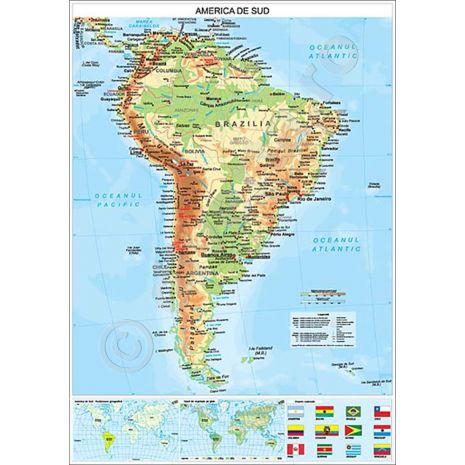 AMERICA DE SUD, harta de perete fizico-geografica si politica, format 100 x 140 cm, editie actualizata 2017, laminata - plastifiata (incapsulata), baghete, harta scolara, harta didactica