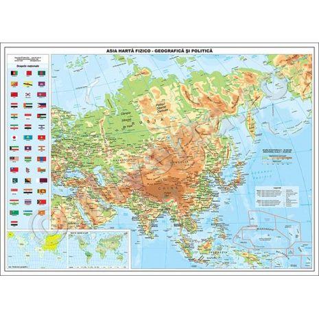 ASIA, harta de perete fizica-geografica si politica, format 90 x 120 cm, editie 2019, laminata - plastifiata (incapsulata), baghete; harta scolara; harta didactica.