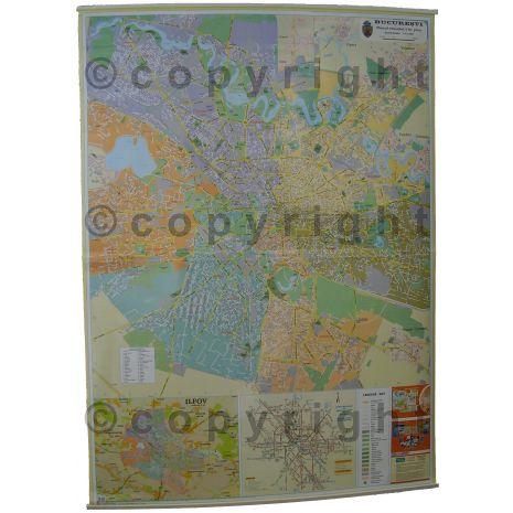 BUCURESTI, harta (plan) de perete rutiera si administrativa (sectoare) (nu contine zonele limitrofe), scara 1:15000, format 100 x 140 cm, laminata - plastifiata (incapsulata), baghete