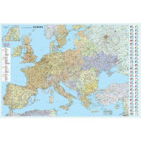 EUROPA, harta de perete politica si rutiera, scara 1:3750000, format 90 x 125 cm, laminata - plastifiata (incapsulata), baghete; foarte utila pentru agentiile de turism, primarii, consilii judetene, firme de distributie produse, marketing, constructii, logistica, transporturi, shipping, etc.