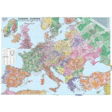 EUROPA, harta de perete politica si rutiera cu coduri postale, format 120 x 160 cm, laminata - plastifiata (incapsulata), baghete;foarte utila pentru agentiile de turism, primarii, consilii judetene, firme de distributie produse, marketing, constructii, logistica, transporturi, shipping, etc.