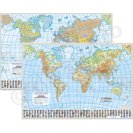 LUMEA DUO 50x70 cm, harta de perete fizica-geografica (fata) + politica (verso), format 50x70cm, editie 2019, laminata - plastifiata (incapsulata), baghete; HARTA DUO: 2 fete (tipar fata-verso), fata: fizica-geografica, verso: politica; fata: LUMEA, harta de perete fizica-geografica, scara 1:60000000, format 50 x 70 cm, editie 2019, laminata - plastifiata (incapsulata), baghete; in conformitate cu noua programa scolara actuala!; harta scolara; harta didactica; steagurile tuturor statelor; + verso: LUMEA, harta de perete politica, scara 1:60000000, format 50 x 70 cm, editie 2019, laminata - plastifiata (incapsulata), baghete