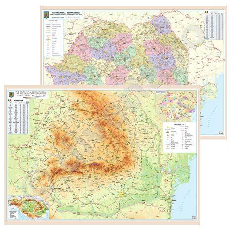 ROMANIA DUO 100x140 cm, harta de perete fizica-geografica si rutiera(fata)+rutiera si administrativa (verso), format 100x140cm, editie 2016 laminata, baghete