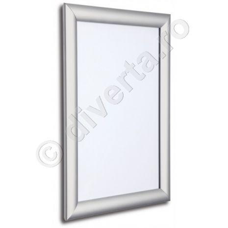 RAMA A4 CLICK / SNAP 25 MM PENTRU POSTERE, AFISE, TABLOURI, aluminiu eloxat, culoare argintiu (silver) mat, latime profil 25 mm, suprafata 210x297 mm-1