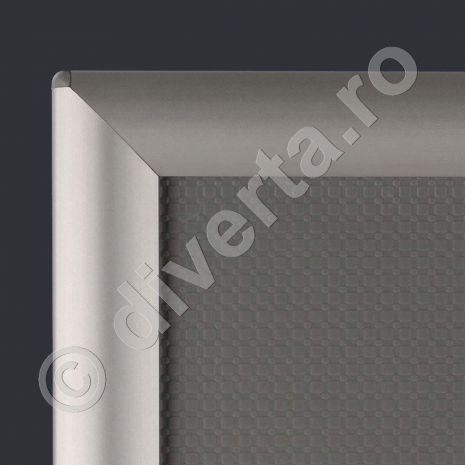 RAMA A4 25 MM SNAP/CLICK PENTRU TABLOURI, aluminiu eloxat, culoare argintiu (silver) mat, latime profil 25 mm, suprafata 210x297 mm-2