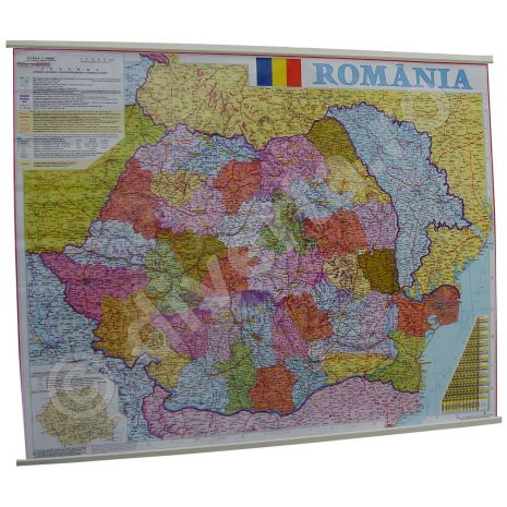 ROMANIA, harta de perete administrativa (vecini + Republica Moldova completa), scara 1:1000000, format 70 x 90 cm, laminata - plastifiata (incapsulata), baghete;    contine delimitarea judetelor pentru Romania;     contine delimitarea raioanelor (judetelor) pentru Republica Moldova; harta detaliata; harta scolara; harta didactica.