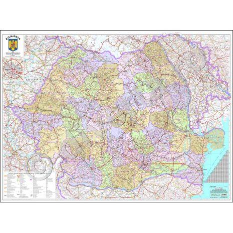 ROMANIA, harta de perete administrativa, rutiera si turistica (vecini + Republica Moldova completa), scara 1:570000, format 100 x 140 cm, laminata - plastifiata (incapsulata), baghete