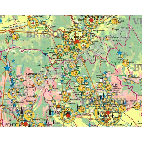 ROMANIA, harta de perete economica - geografica, scara 1:450000, format 140 x 200 cm, laminata - plastifiata (incapsulata), baghete - detaliii