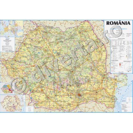 (RESIGILAT) ROMANIA, harta de perete economica - geografica, scara 1:450000, format 140 x 200 cm, laminata - plastifiata (incapsulata), baghete