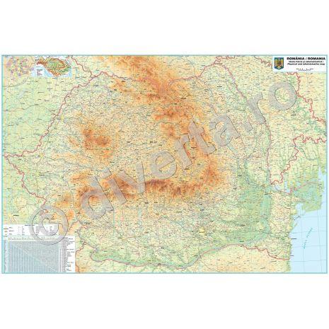 ROMANIA, harta de perete fizica-geografica si administrativa (delimitarea judetelor), format 175 x 250 cm, scara 1:297000, laminata - plastifiata (incapsulata), baghete
