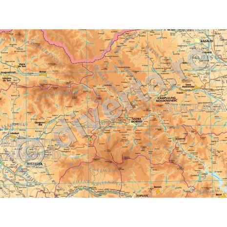 ROMANIA, harta de perete fizica-geografica si administrativa (delimitarea judetelor), scara 1:400000, format 140 x 200 cm, editie 2016, laminata - plastifiata (incapsulata), baghete-detalii
