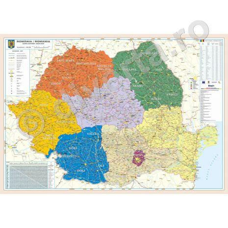 (RESIGILAT) ROMANIA HARTA ADMINISTRATICA, JUDETE + ZONE REGIO, harta de perete administrativa cu regiuni si zone de dezvoltare, scara 1:570000, format 120 x 160 cm, laminata - plastifiata (incapsulata), baghete;noile regiuni si zone de dezvoltare; delimitarea judetelor, oraselor, comunelor, satelor; delimitarea zonelor si regiunilor de dezvoltare; informatii despre regiunile de dezvoltare; distante kilometrice; grila kilometrica; date statistice; legenda in limbile romana si engleza.