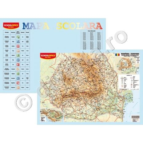 ROMANIA FIZICA-GEOGRAFICA, harta de perete (fata) + TABLA INMULTIRII / IMPARTIRII / ZODIAC plansa de perete / mapa de birou (verso), format 40x60cm, editie 2020, laminata - plastifiata (incapsulata), baghete - PLANSA DUO 40x60 cm; in conformitate cu noua programa scolara actuala!; minharta: MARILE UNITATI DE RELIEF; minharta: BAZINUL DUNARII; harta scolara; harta didactica; legenda in limbile romana si engleza; se poate folosi si ca harta / plansa / mapa pe birou.