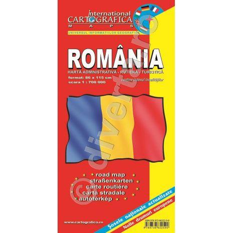 Romania, harta pliata administrativa, rutiera si turistica, scara 1:700000, format 89x120 cm, editie 2013-coperta2