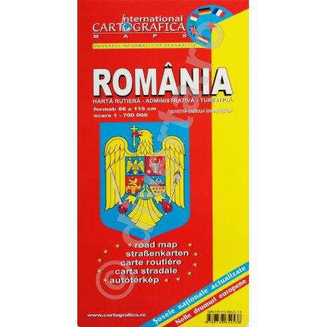 Romania, harta pliata rutiera, administrativa si turistica, scara 1:700000, format 89x120 cm, editie 2013-coperta2